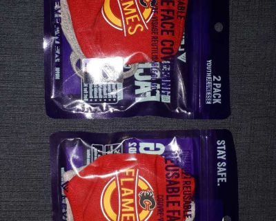 Youth size Calgary Flames useable cloth face masks