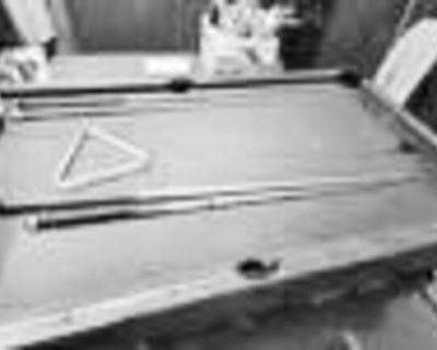 Pool table, slate, green felt,...