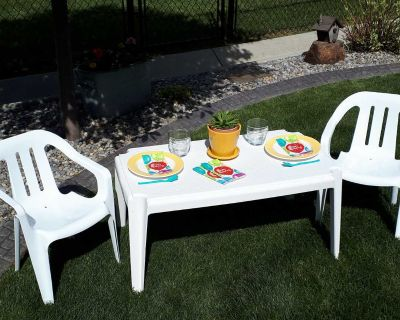Kids table and chairs outdoors or in for crafts