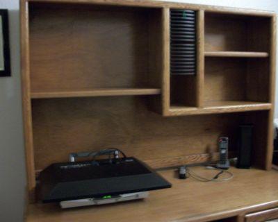 Solid Oak Computer Desk w/Hutch
