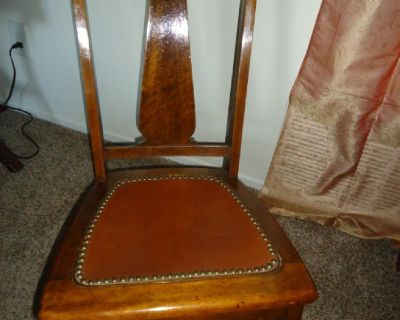 Antique Brown Wood/Leather Rocking Chair
