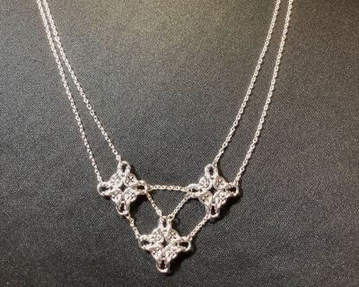 Silver Chainmaille Diamond Necklace