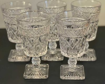 Cape Cod Glass Square Footed Goblets / Glasses - Set Of 5