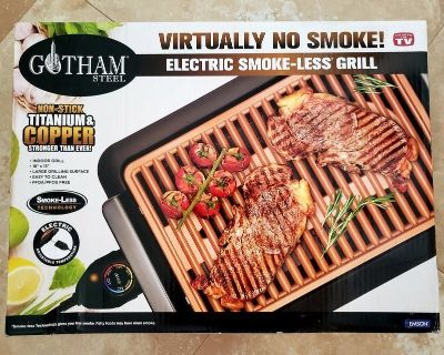 Gotham Steel Smokeless Electric Grill with Non-Stick Surface, Indoor BBQ