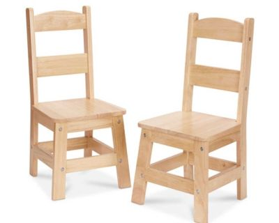 NEW - IN-BOX - TWO (2) MELISSA & DOUG KIDS SOLID NATURAL WOOD CHAIRS