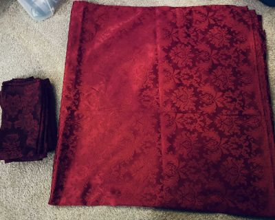Dark Red Table Cloth w/matching Cloth Napkins-CROSSPOSTED