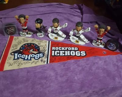 Rockford IceHogs Collector's Lot: 5 Bobbleheads, 2 Pucks, Autographed Signed Pennant