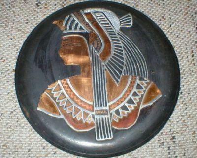 Egyptian Copper Art - Cleopatra - Metal Plaque - Vintage