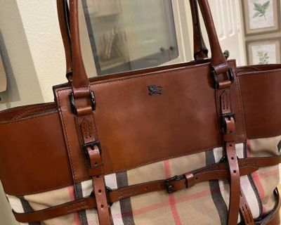 Authentic Burberry Leather Tote Bag