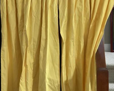 Yellow curtains - 2 panels and rod with brackets