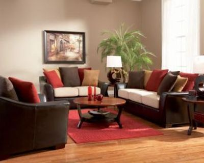 2 Pc Lily Contemporary Sofa, Love Seat with Pillow Back.