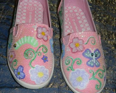 OOAK Hand Painted Girls 12 Pink Shimmer Slip-On Shoes Girly w/ Flowers