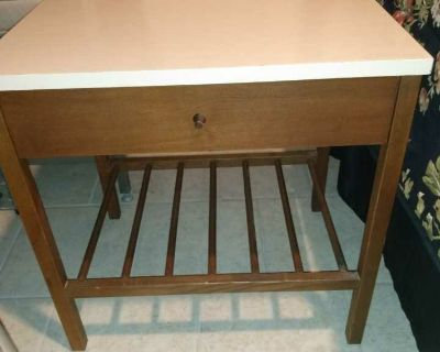Cute little solid wood with laminated top and one drawer nightstand vintage