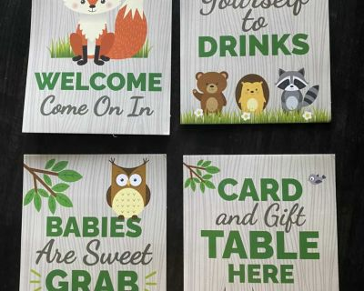 Woodland Baby Shower Games & Table signs