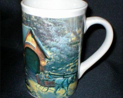 "Thomas Kinkade Mugs ""Holiday at Spring Gate"" & ""Winter Evening Memories"""
