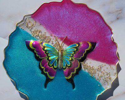 Butterfly Resin Coaster/Ring Tray