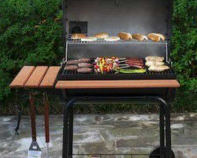 Char-Griller Super Pro 30-in Black Barrel Charcoal Grill.