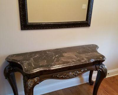 Marble/Wood Sofa table plus Mirror