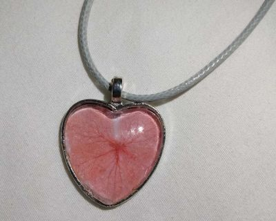 Pink Dried Flower Heart Shaped Necklace