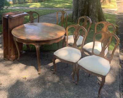 Vintage Dining Set with two leafs and 6 chairs