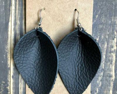 Black Genuine Leather Earrings Handmade
