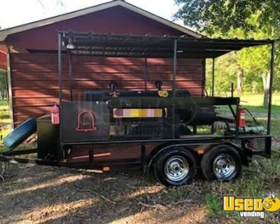 14' Used Open Barbecue Smoker Pit Tailgating Trailer w/ Extra Burners