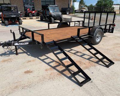 "2021 Falcon TrailerWorks 77"" X 14' Single Axle ATV Side Gate Trailer - Utility Marshall, TX"