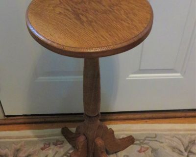 SOLID OAK TALL PLANT TABLE