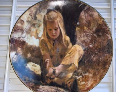 Sand in her shoe 1979 Original painting by Thornton Utz precious moments collection plate