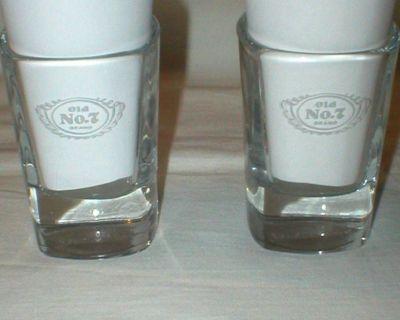 2 Jack Daniel's Shot Glasses - Old No.7 - Square - Signature in Bottom