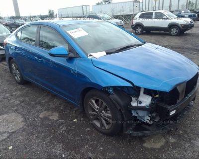 Salvage Blue 2018 Hyundai Elantra