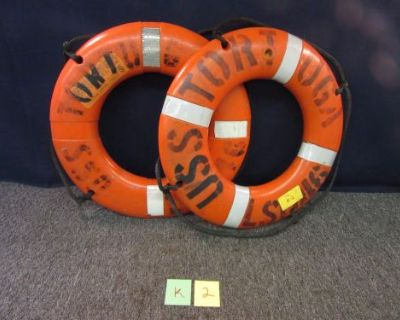 """2 Ship Boat Buoy I024 Uss Tortuga Military Sterns Float Life Ring Od 24"""" Used"""