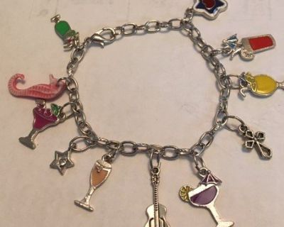 Charm Bracelet Bartender Silver Some Vintage Charms Colors Adjustable Custom Made with Extra Charms