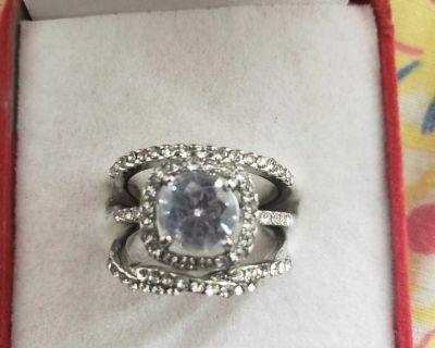 Princess 925 Sterling silver Natural Gemstone Diamond White Sapphire Ring Size 9