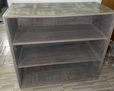 3 distressed painted shelves