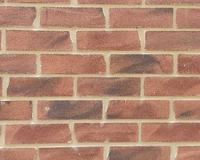 Brick slip with pointing mortar and glue