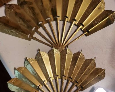 Brass decor fans vintage