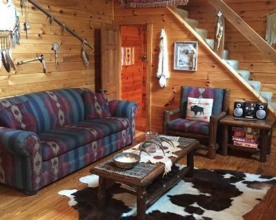 American Indian Decorated Log Cabin On Toccoa River Awaits Your Arrival! - Suches