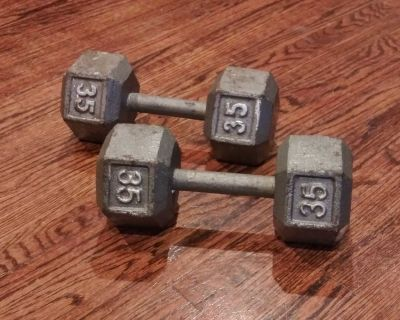 Hand weights dumbbells 2 35 lb each P/U ONLY $50 for both