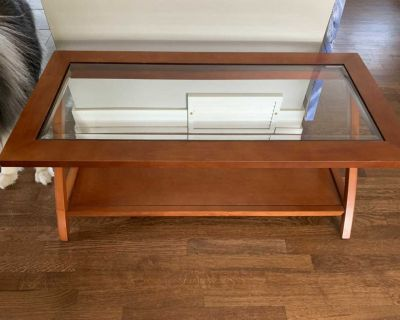 Wooden and glass coffee table- EUC