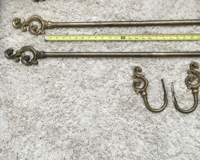 2 Heavy Duty Metal Curtain Rods, 4 Brackets and Pair of Matching Tiebacks