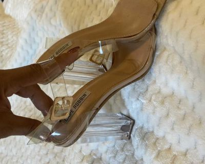 Cape Robbin Clear/Nude Ankle Strap Heels