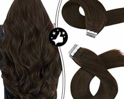 Moresoo Tape in Extensions Human Hair Brown Tape in Hair Extensions 18 Inch Solid Color #4 Dark Brow - New