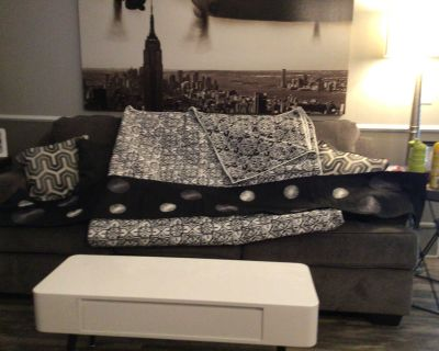 Black silver and grey table runner