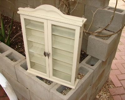 White painted wood & glass curio cabinet