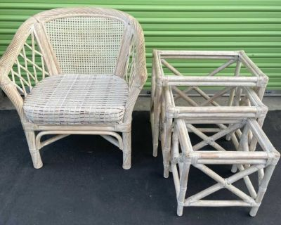 Rattan/Bamboo Chair & Set Of Three Nesting Tables With Glass Tops