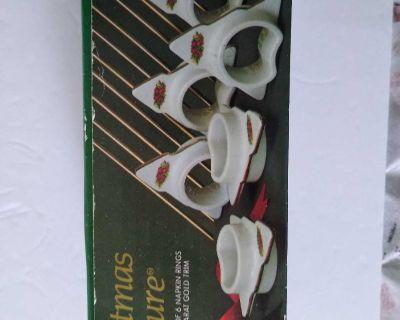 6 vintage 24k rimmed Christmas tree napkin rings