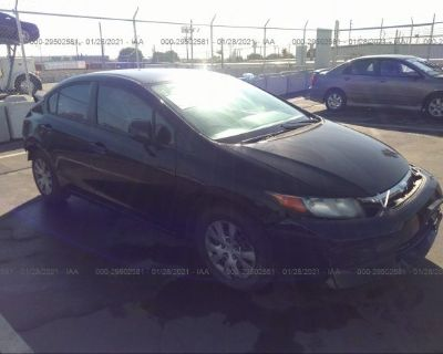 Salvage Black 2012 Honda Civic Sdn