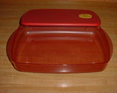 Vintage Tupperware Rock 'N Serve Ruby Red Microwave Reheatable Divided Dish With Rocker Vent. This Virtually Unbreakable Popular...