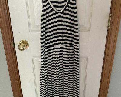 Women s summer dress. Black and white striped.